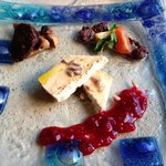 Brie with house olive oil and pomegranate jam, garden mushroom with house morsicha black sausage