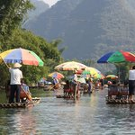 Yes, you do share the river with fellow tourists @ Yangshuo Bamboo Rafting