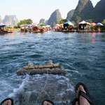 ...and yes, you do get your feet wet @ Yangshuo Bamboo Rafting