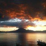 Beautiful sunset at public deck Panajachel, 5:50 pm.