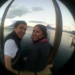 Taking pictures at public deck, Panajachel. 6:00 am.