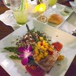 Mahi Tuna with mango salsa, asparagus and wild rice pilaf
