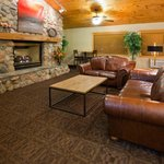 Warm and Inviting Vaulted Fireplace Lobby Conversation Area