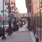 LOEWS sign from sidewalk