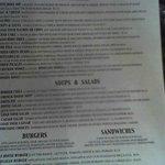 Their menu, one side of it