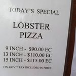 Prices for Lobster Pizza