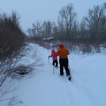 You can ski or walk about 1/4 mi northward beside the river