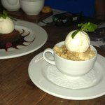 Chocolate melt and apple crumble