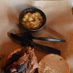 Brisket Sandwich with Bread Pudding Side