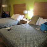 2 Queen bed room. Huge TV, fridge, microwave, coffee maker.