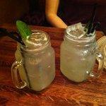 freshly made lemonade with mint!