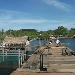 day-asan floating village wooden sea path