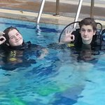 In the pool at BV Dive Centre training towards their Open Water