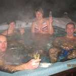 Enjoying the hot tub after a hard day in powder.
