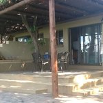 Stoep of perimeter chalets with view on Sabie River, Lower Sabie, KNP