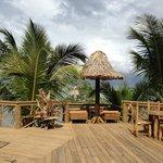 Sun loungers & dining area