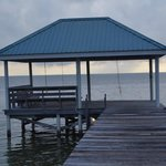 The covered pier area where hammocks are hung during the day to relax.