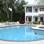 The pool and the main house with two bedroom on second floor and one bedroom on main level.