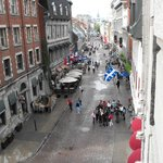 View from our room - the cobbled streets of Old Montreal
