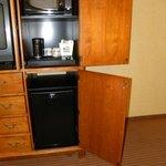 Microwave and fridge