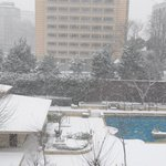 Snowing - view from our room