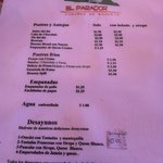 Menu in spanish side 1