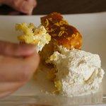 Orange cake and cream.
