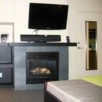 Fireplace, television and very comfortable King bed