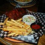2-meat plate: Alberta Beef Brisket under Kansas City Pork Ribs w/ slaw and garlic fries.