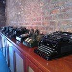 Impressive display pf old typewriters!