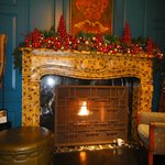 Lobby fireplace at Christmas
