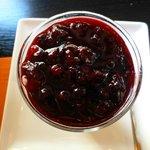 red berries on cream and panacotta