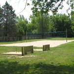 Our volleyball court and horseshoe pits!