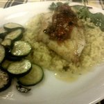 Orange Roughy with risotto and zuchini