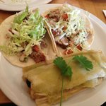 Carnitas taco, chicken taco, green chile tamale -- all amazing