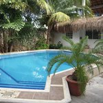 The pool with the casita in the background