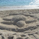 Sand sculpture on beach