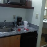 Microwave/Fridge/Coffee/Sink area