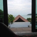 view from bed in beachside pool villa, pool is amazing!