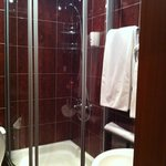 Standard room bathroom with a shower and all bathroom amenities.