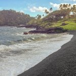 Black Sand Beach below the Hana Kai