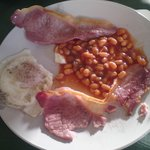 One egg, 2 rashers with cold beans
