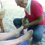 Pedicure on the beach at Cha-am