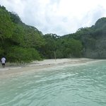 a secluded beach for swimming
