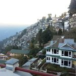 view from the verandah. .. Darjeeling city and part of our hotel