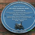 The Blue Plaque on Freds house.
