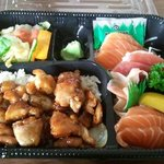 Teriyaki chicken and sashimi
