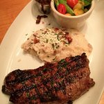 New York Strip with mashed potatoes and fresh vegetables