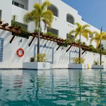 Hotel lap swimming pool and hotel rooms