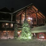 Snow covered lodge
